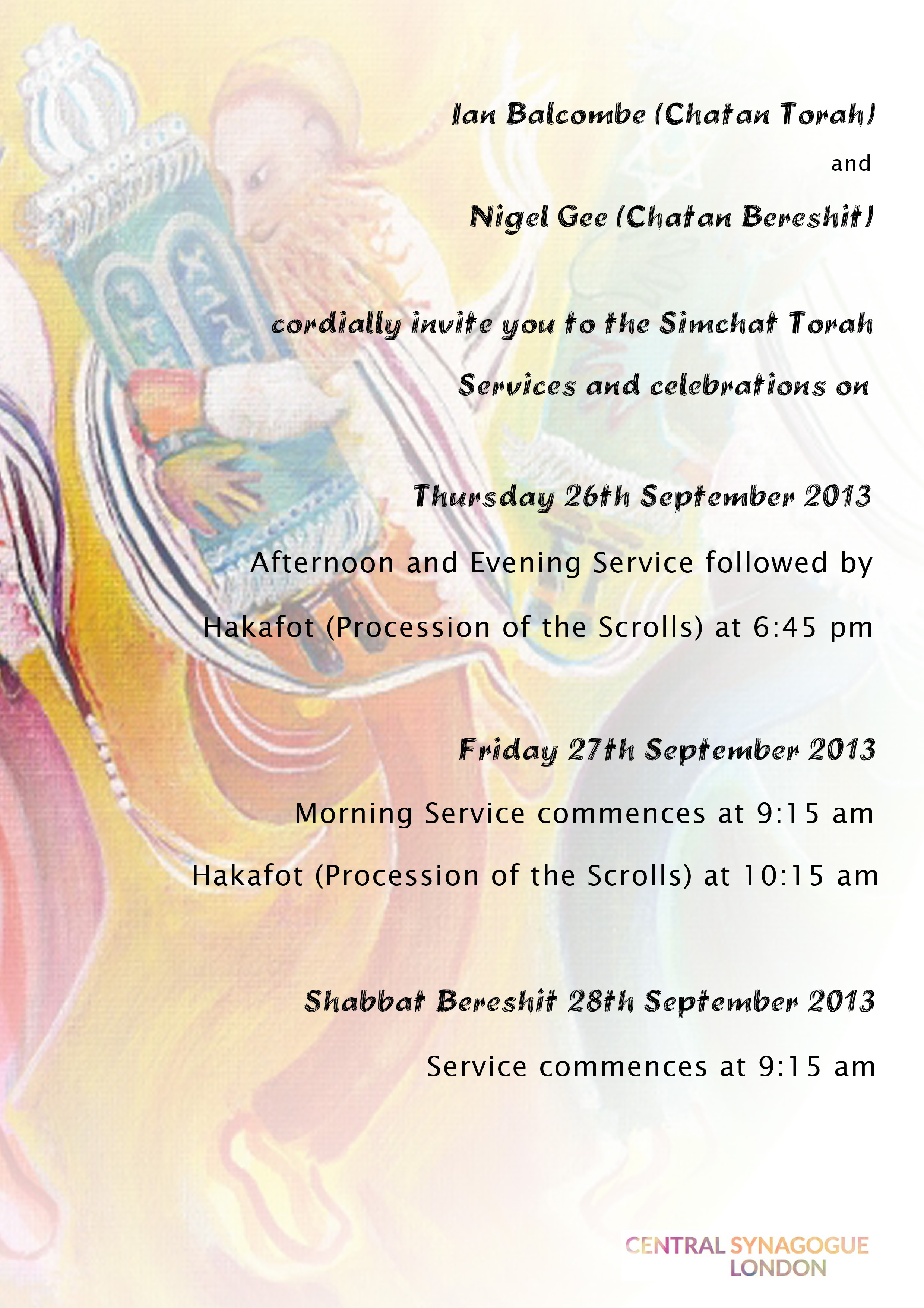 Simchat Torah flyer 2013